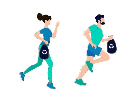 Plogging. A man and a woman collect garbage during a sports run. Vector illustration.