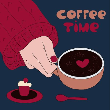 coffee time. lettering and a hand in a sweater holding a Cup of coffee. next to the cupcake and a teaspoon. vector illustration. 向量圖像