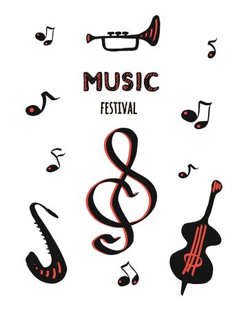 Vector template for a concert poster or flyer with the image of a treble clef, notes, saxophone and double bass. on white background
