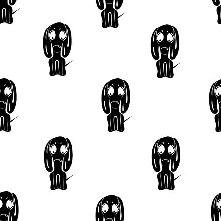 seamless pattern with dachshunds on a white background. cartoon style vector illustration. Illustration