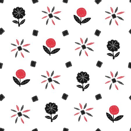 Floral cute seamless pattern on the white background. Scribble backdrop with hearts and flowers. Fabric decorative doodle texture Иллюстрация
