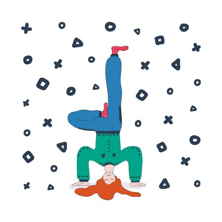 A girl in a tracksuit stands on her hands upside down and meditates. vector illustration hand drawn