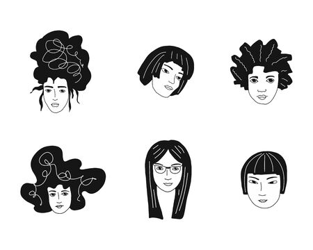 Black and white illustration with women faces. International Women s Day. Sisterhood. Feminism. Vector templates for card, poster and flyer.