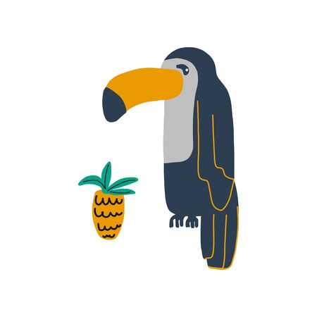 Cartoon parrot is a wild animal bird. Different colors of a sitting parrot next to a pineapple. cute character vector illustration.