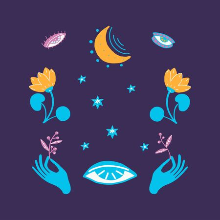 Hands holding branches of plants, magic symbols, stars, blue flowers. Vector illustration on a dark blue background. Tattoo, prediction of the future
