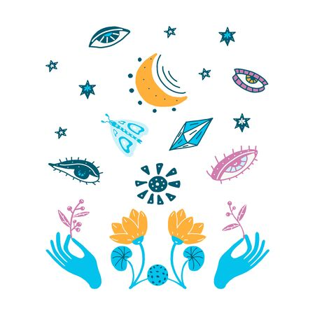 Hands holding branches of plants, magic symbols, stars, blue flowers. Vector illustration on a white background. Tattoo, prediction of the future.