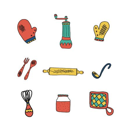 Set of Kitchen utensil in hand drawn style. vector illustration.