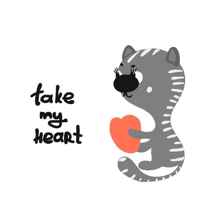 Take my heart lettering and small cartoon cat for cards or holiday banners. vector illustration isolated on white background.