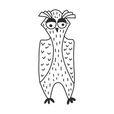 Cute vector owl isolated. hand drawn style. perfect for coloring or applying to a t-shirt.
