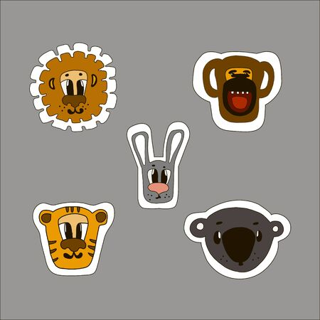 Vector illustrations of cartoon animals stikers on the background.