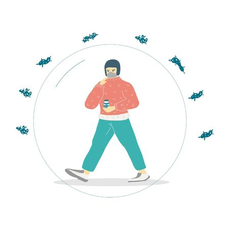 a  girl wearing a mask and carrying a jar of a viral drug to protect her from the coronavirus. vector illustration