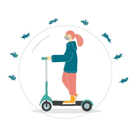 a woman rides a scooter wearing a mask to protect her from the coronavirus. vector illustration