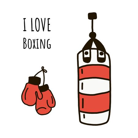 I love Boxing. vector illustration in flat style and lettering. red Boxing gloves hang on the wall next to a striped punching bag.
