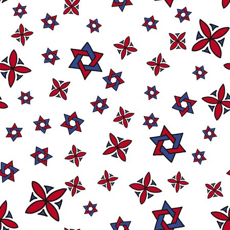 geometric Arabic pattern. purple and red symbols are arranged in random order. Perfect for packaging, textiles, and clothing fabrics.