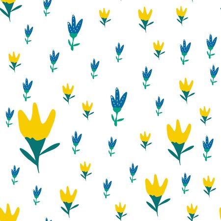 yellow and pale blue tulips on a white background. Perfect for fabric design, gift wrapping, spring greeting cards, or website background.