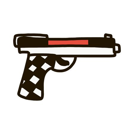 Gun icon. Vector gun icon. Pistol symbol in doodle style. Hand drawn isolated on white background.