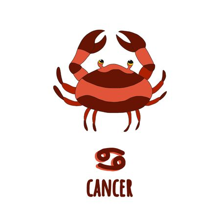 Zodiac signs Cancer lettering hand drawn in cartoon style.cute character from the constellations of horoscope.Suitable for children s products, t-shirts, cups, calendar, postcards sticker.isolated.