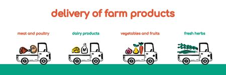 Farm fresh delivery design template. Classic food truck with organic vegetables, meat and other healthy natural prodacts. Vector illustration in hand drawn style. Suitable for banner,landing page.