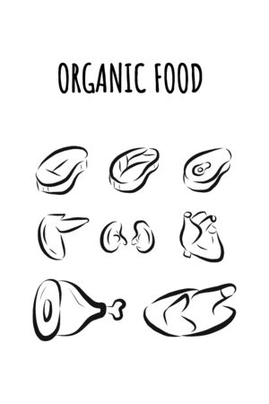 Icons of organic food, farm products and healthy natural no chemical food.illustration of poultry,beef,veal,wings,kidneys.Suitable for poster,banner,website, icons,landing page,meat product packaging.