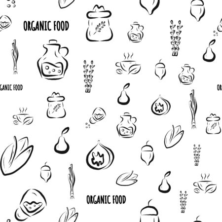 Vector seamless model with herbs, vegetables, fruits and spices. Hand-drawn black and white illustration. Image for farm, store, agricultural industry, packaging paper on white background, for store