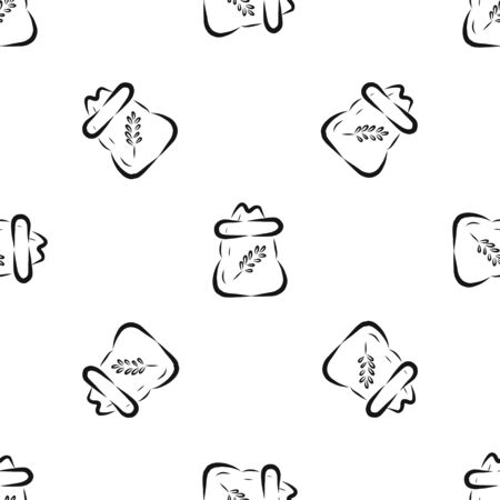 drawn seamless pattern with a jar for storing cereals in the kitchen. black and white vector illustration in hand-drawn style.perfect for the design of packaging paper, tablecloth, background for the site.