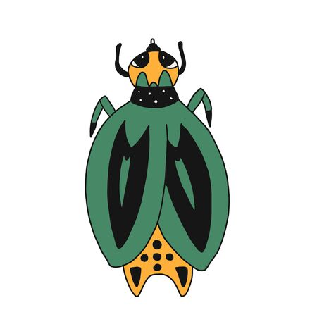vector hand-drawn illustration of a beetle in a cartoon style. green bronzer bug. isolated on a white background.Suitable for children s books, t-shirts, mugs, posters, postcards, colorings Иллюстрация