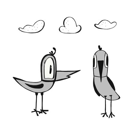 two funny birds and clouds hand drawn in doodle style. isolated on a white background. Can be used for children s clothing design, t-shirts, mug design, posters, postcards,children books. Vektorgrafik