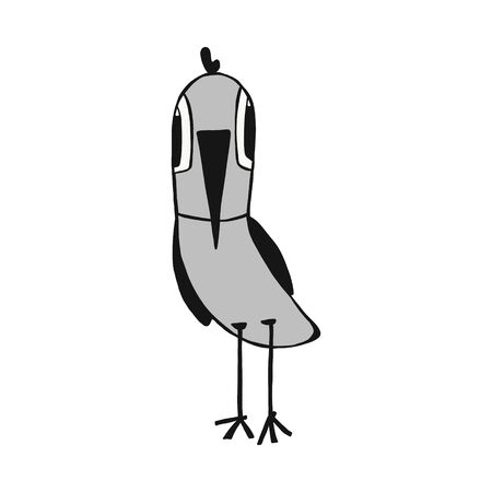 funny bird. hand drawn illustration in doodle style. isolated on a white background. Can be used for children s clothing design, t-shirts, mug design, posters, postcards,children books. Stock Illustratie