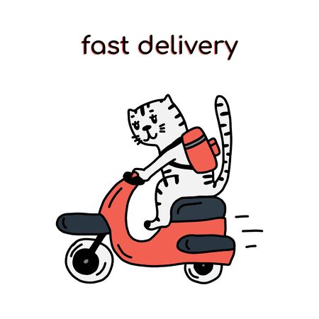 Food delivery a cheerful cat character rides a scooter with an order in a large backpack.Hand-drawn vector illustration in cartoon style.Suitable for delivery services,mobile apps,websites,logos