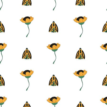 cute yellow flowers and bugs pattern seamless on white background. vector illustration hand drawn. can be used for fabrics, children s items and books, bed linen design, fabrics, packaging.