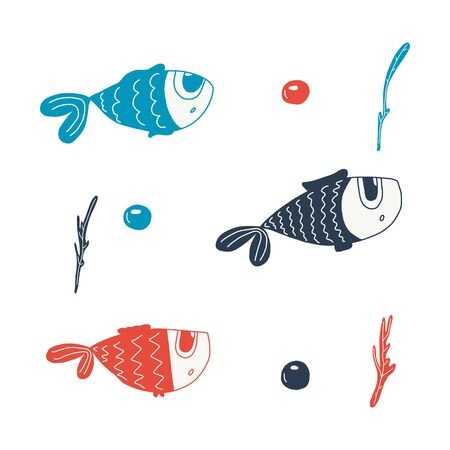 Set Cartoon fishes. The funniest character.Hand-drawn vector illustration.isolated on a white background.You can use it to design mugs, postcards,children s clothing, t-shirt design, and fabrics. doodle.