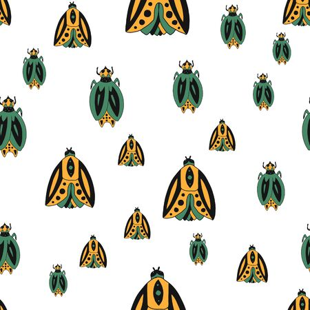 Vector seamless pattern with cute bugs.color hand-drawn illustration in the cartoon style on white background.suitable for fabric design, bed linen,t-shirt design, mug design, packaging paper.