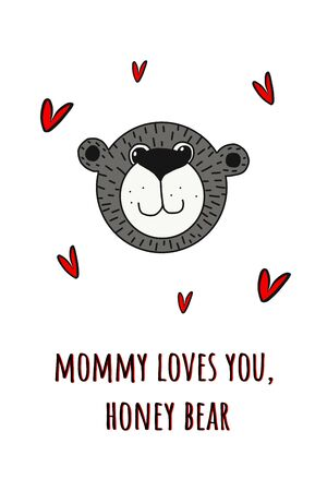 Teddy bear, poster for children s room, greeting card, printing on the wall, pillow, children s interior decoration. vector hand-drawn illustration.bear face and letters Mama loves you honey bear.