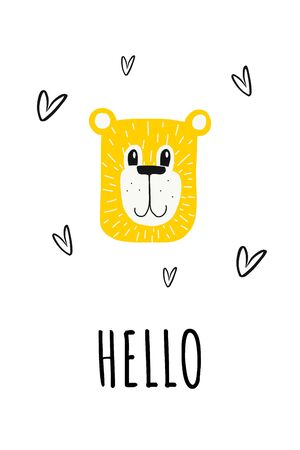 Teddy bear, poster for children s room, greeting card, printing on the wall, pillow, children s interior decoration. vector hand-drawn illustration.bear face and letters hello