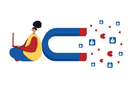 Social media concept vector illustration with a magnet for attracting followers. The impact of a marketing or viral advertising campaign.Girl with laptop correspond in social media with clients. Illustration