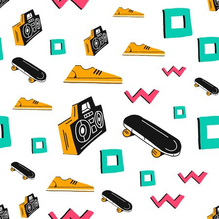 seamless vector pattern with a cassette recorder and sneakers.Elements of Doodle icons.Funny childrens drawing. Can be used Wallpaper, fabric design, fabric, paper, textile, background