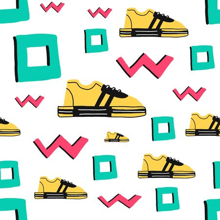 Cartoon hand drawn seamless vector pattern with Doodle icon elements. Vector background with sneakers. Funny childrens drawing. Can be used Wallpaper,fabric design, fabric,paper,textile,background