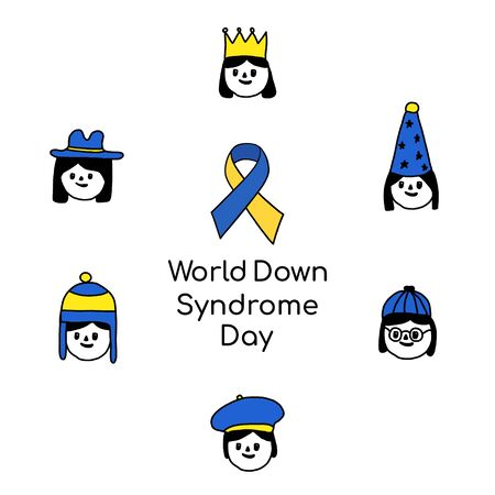 Concept of down syndrome. Smiling face of a disabled girl isolated on a white background in the style of Doodle and the inscription down syndrome day.suitable for posters, banners, and websites