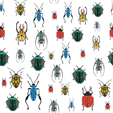 Seamless pattern with colorful bugs. Bright vector drawing of small beetles on a white background. flat design drawn by hand.For fabrics, packaging paper, tableware design, website banners, Wallpaper