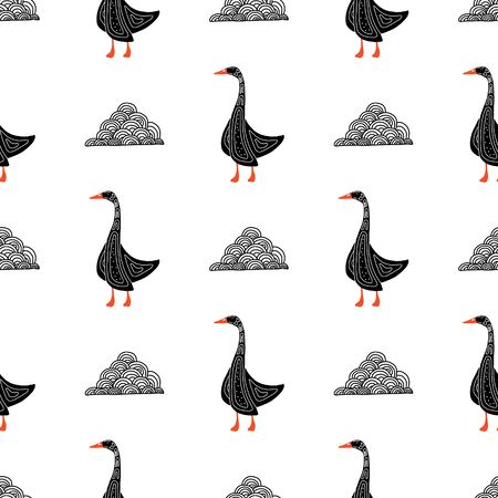 Hand-drawn seamless goose pattern. Engraved vector illustration style. Template for your design work.stylized bird with a folk pattern.suitable for fabrics, banners, postcards, children s books