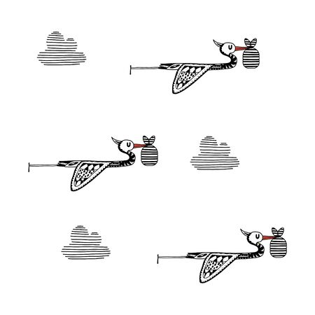 Three Cartoon storks carry newborn babies in the clouds. vector monochrome illustration in the style of hand-drawn on a white background.for postcards, banners, invitations, and posters Illustration