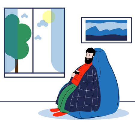 Vector illustration of a man sitting on a chair-bag covered with a red plaid. The guy gets sick and drinks a hot drink. Virus danger concept, high fever, signs of illness. Illusztráció