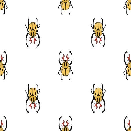 vector seamless pattern of hand drawn garden ground beetle.Flat design. insect isolated on a white background. It is suitable for children s books, postcards, fabrics, educational websites or apps.