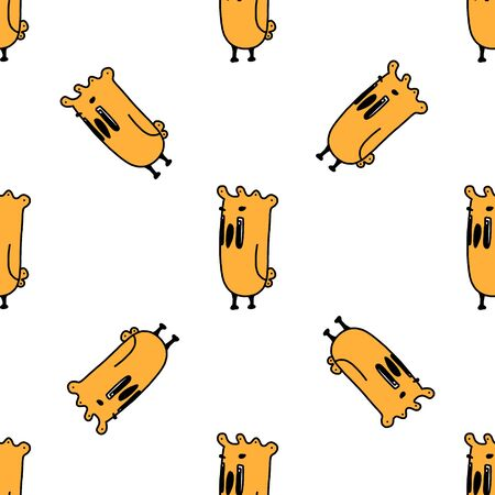 Birds seamless pattern. funny cartoon yellow bird.vector illustration on a white background. for postcards, book characters, children s games, toy design, fabric, design children clothes. Hand-drawn.
