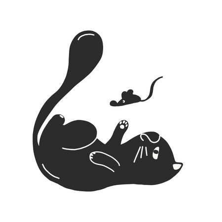 Funny cat black silhouette for your design. vector illustration isolated on a white background. the cat plays with the mouse.for postcards, pet stores, posters, banners, icons for the site. Illustration