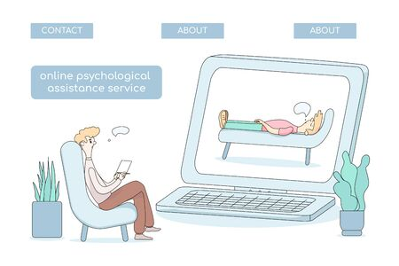 The concept of psychological counseling. Vector online illustration of a psychological assistance service. a doctor conducts a session on the Internet.for landing pages, websites, and apps