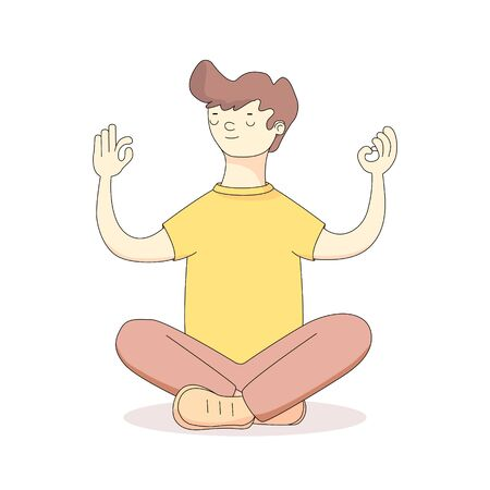 a young man meditates in the Lotus position.Harmony, relaxation, spiritual energy. vector illustration in cartoon style.flat illustration.isolated on a white background. banners,articles and t-shirts Illusztráció