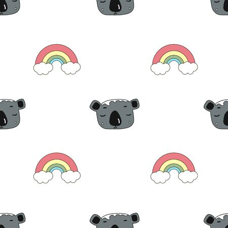 cute Koala face and rainbow. seamless pattern.illustration in the style of a cartoon.on white background.for the design of fabrics, children s products, packaging, Wallpaper, toys, patches.