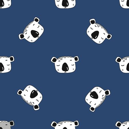 cute Koala face. seamless pattern.illustration in the style of a cartoon.on dark blue background.for the design of fabrics, children s products, packaging, Wallpaper, toys, patches