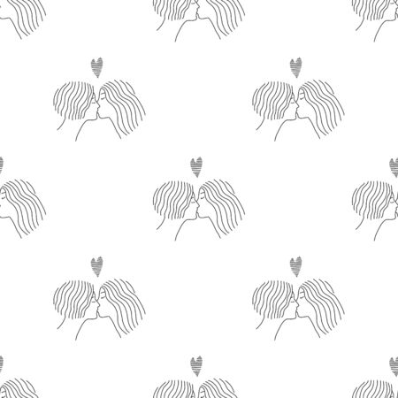 Lesbians kiss in the background.lesbian love in a linear pattern. Faces close-up isolated on a white background.